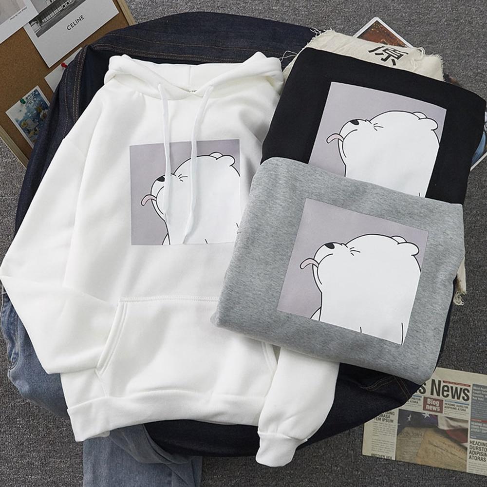 Permalink to 2020 Winter Warm Sweatshirts Cute Bear Pattern Casual Clothes Plus Velvet Women's Student College Cartoon Hoodies Long Sleeve