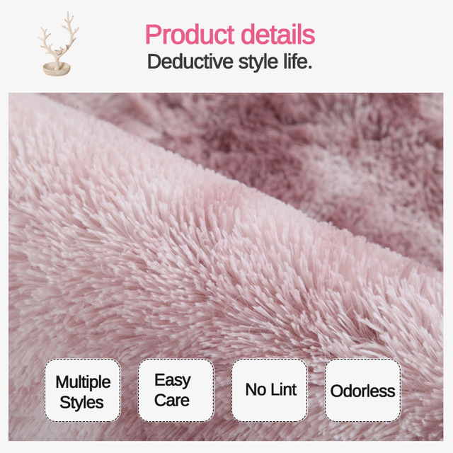 Pink Thick Plush Carpet for Living Room Fluffy Rug Bed Room Carpets Anti-slip Floor Soft Rugs Tie Dyeing Carpets Kids Room Mat 4