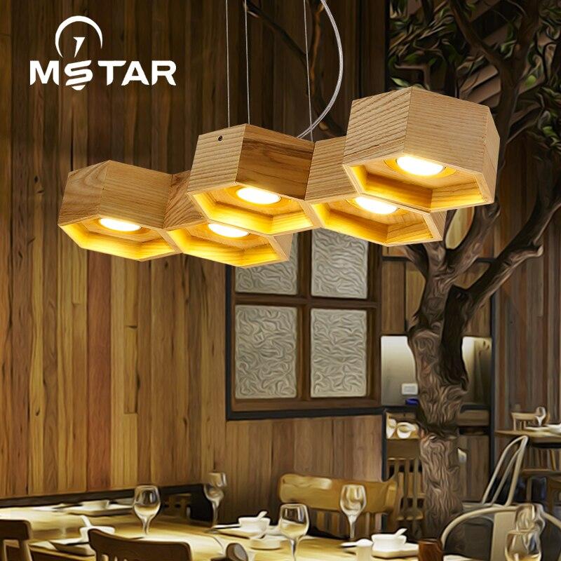 Nordic Art Personality Honeycomb Wood Pendant Light Restaurant Bar Luminaire Suspendu