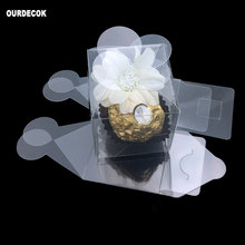 50Pieces/lot Clear Square Wedding Favor Gift Box Transparent Party Petal Candy Boxes Event Sweet Candy Favour Holder(China)