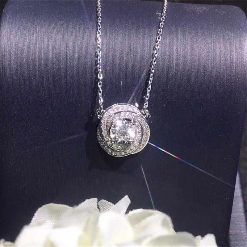 ロマンチックなダイヤモンドペンダント本物の925スターリングシルバーパーティー結婚式のペンダント女性のブライダル婚約ジュエリーギフト