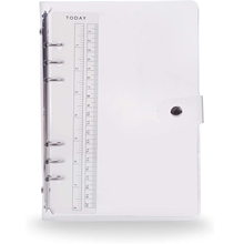 A5 /A6 Transparent 6 Ring Binder Cover Clean  Soft PVC for Refillable Notebook Shell with Snap Closure and 1 Ruler