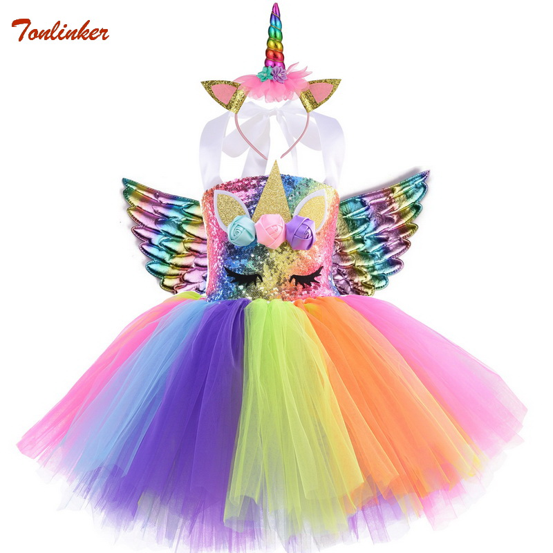 Children Kids Halloween Unicorn Costume For Girls Rainbow Unicorn Tutu Dress With Headband Wings Princess Flower Girl Party Dres