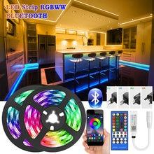 Tira de luces LED con Bluetooth RGBWW SMD 5050, cinta de diodos RGB DC12V, Flexible, Control por aplicación de teléfono + adaptador, 5M-30M