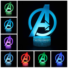 Marvel Avengers Figure 3D Acrylic Illusion LED Lamp USB Stereoscopic Colourful NightLight Model Toys for Kids Creative Xmas Gift