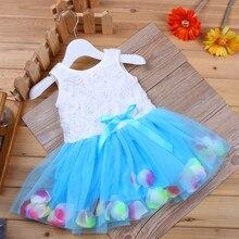 Для детей ясельного возраста одежда для малышей платье без рукавов с бантом, платье-пачка с лепестками, платье с фатиновой юбкой для девочек...