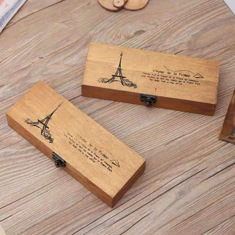 Retro Vintage Wood Pencil Case Eiffel Tower Pen Stationery Storage Box Holder Organizer Container School Office Papelaria Supply