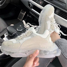 Shoes Platform-Sneakers Rainbow Transparent Genuine-Leather Womens Fashion Ins