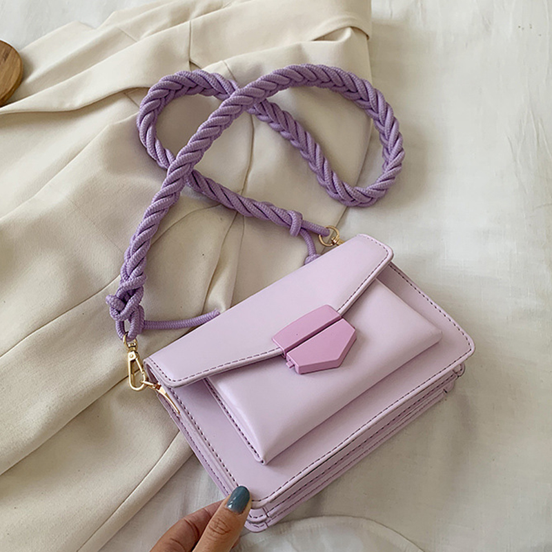 Fashion Woven Strap Crossbody Bags For Women 2020 Chic Buckle Lady Messenger Bag Pu Leather Solid Color Summer Mini Shoulder Bag