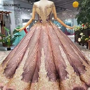 Image 1 - LS11089 blush color women occasion dress unique patter o neck ball sparkly party dress curve shape with golden lace floor length
