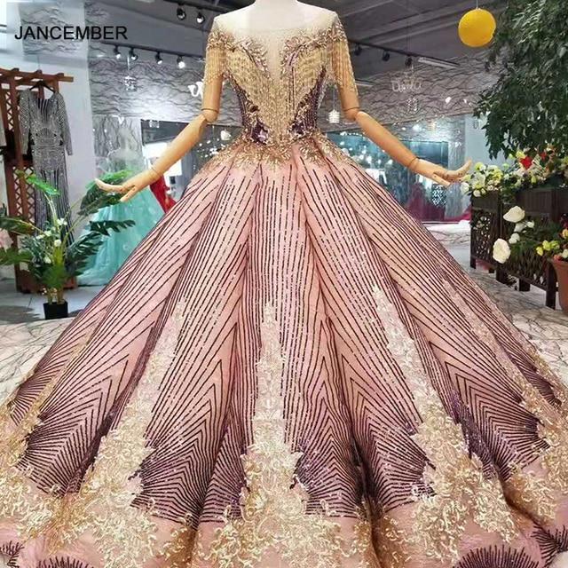 LS11089 женское блестящее вечернее платье с круглым вырезом и золотистым кружевом
