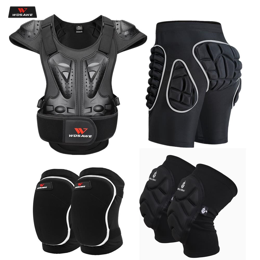 WOSAWE Adult Motorcycle Armor Vest Chest Back Shoulder Protection Hip Knee Protector  KneePads Sports Protector Protective Gears