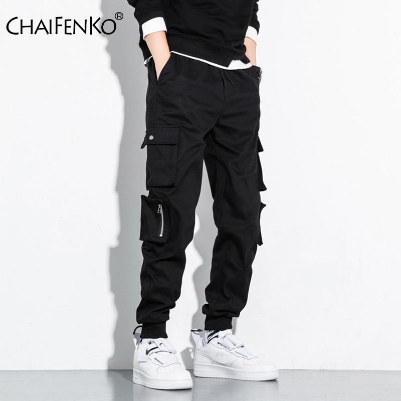 CHAIFENKO Hip Hop Cargo Pants Men Fashion Harajuku Harem Pant Streetwear Casual Joggers Multi-Pocket Tie feet Men Pant M-8XL