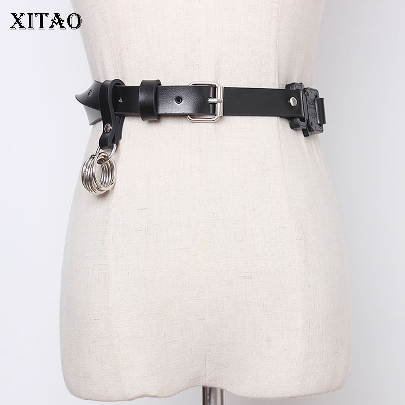 XITAO Punk Rock Style Corset Belt For Women Trend Metal Ring Pu Leather Accessories Women Wild Fashion Girdle Streetwear XJ3459