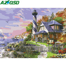 AZQSD Diy Pictures By Numbers Lighthouse Landscape Paint Canvas Hand Painted Wall Art City Scenery Oil Painting By Numbers Gift(China)