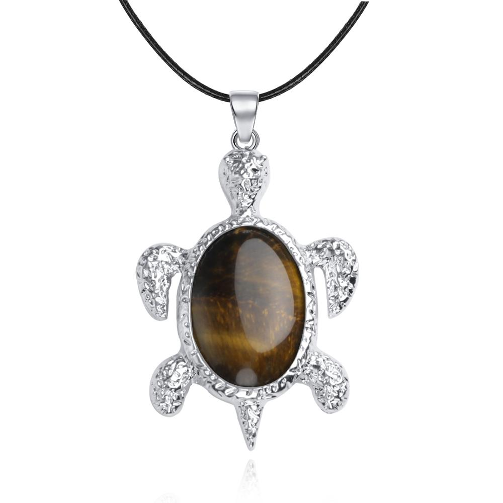 Fashion turtle pendant necklace longevity birth stone meditation healing balance chakra crystal pendant jewelry