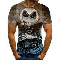 Camiseta con estampado de calavera para hombre, en 3D Camiseta de manga corta con estampado, camisetas divertidas informales transpirables 2020