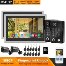 HomeFong WiFi Video interkom sistemi kiti IP görüntülü kapı telefonu parmak izi kilidini kapı zili 1080P kamera 10 inç dokunmatik ekran monitör