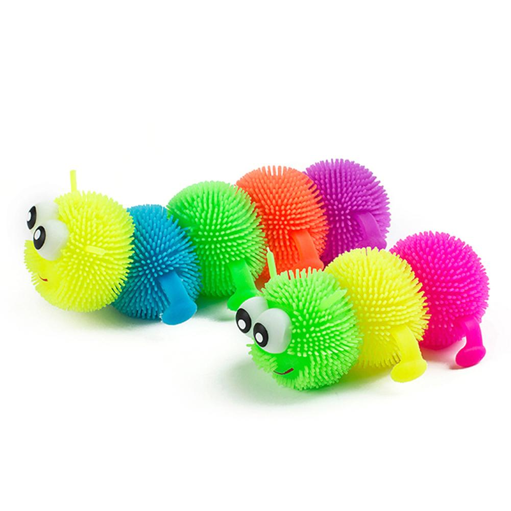 Toy Gift For Children Glowing Hair Puffer Caterpillar Soft Anti-Stress Sensory Fidget Kids Squeeze Flashing Plush Ball Children
