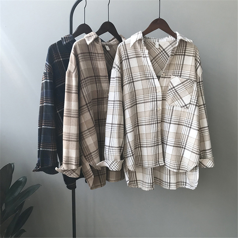 Spring Thick Loose cotton plaid Women blouses shirt 2020 female long sleeve Casual Warm women Blouse shirt office lady top Y0675 (1)