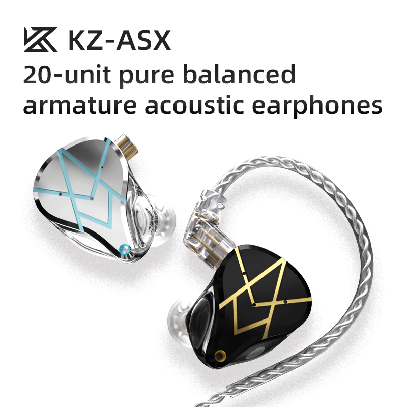 KZ ASX Earphones 20BA Balanced Armature Noise Cancelling Sport Headset Music Gaming Earbuds Headphone