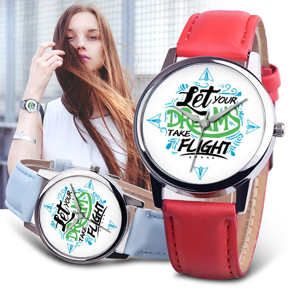 Let Your Dreams Take Flight Letter Dial Faux Leather Band Quartz Wrist Watch Couple Watch Lovers Male Female Пара смотреть 커플 시계