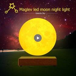 Ночник, светодиодный с магнитной левитацией и сенсорным управлением, 3D принт Луны, для вечеринок, украшения для дома, день рождения, День свя...