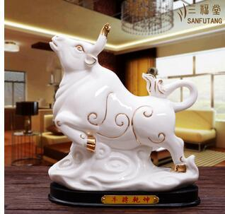 Ceramic Zodiac ox ornaments Zhaocai Town House Cattle Fengshui handicraft White Porcelain Living room opening gift