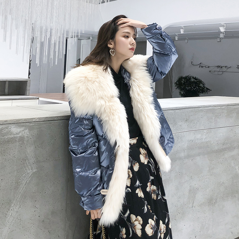 OFTBUY 2019 Real Fur Duck Down Coat Wool Double Face Fur Coat Winter Jacket Women Parka Thick Warm Outerwear Streetwear Luxury