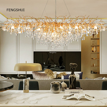 American Light Luxury Crystal Pendant Lights Creative Led Branches Living Dining Room French Hanging Lamp Villa Decor Luminaries 1
