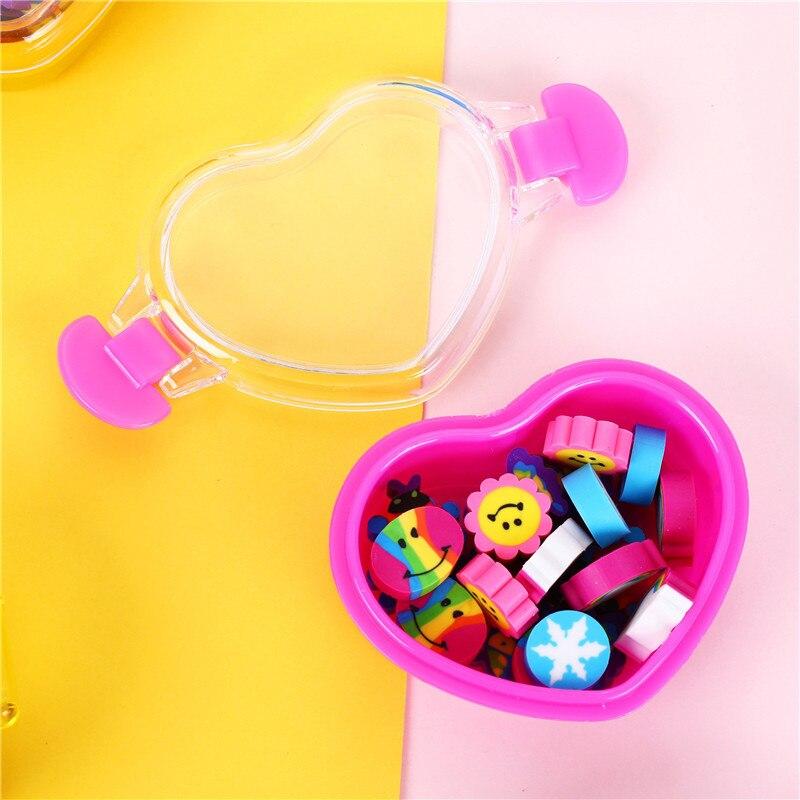 20pcs/lot Rainbow Box Eraser Cartoon Goma De Borrar Stationery Gomme Kawaii Erasers For Kids Rubber Ramdon Send 00630