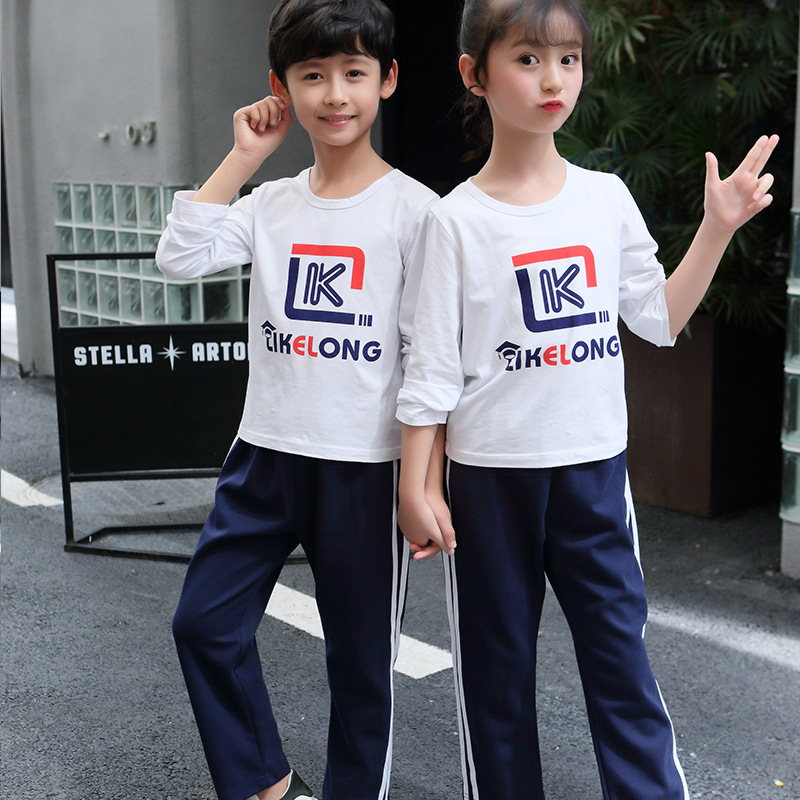 Young STUDENT'S School Uniform 2019 Spring And Autumn Thin KID'S T-shirt Business Attire Set Two-Piece Set Kindergarten Suit