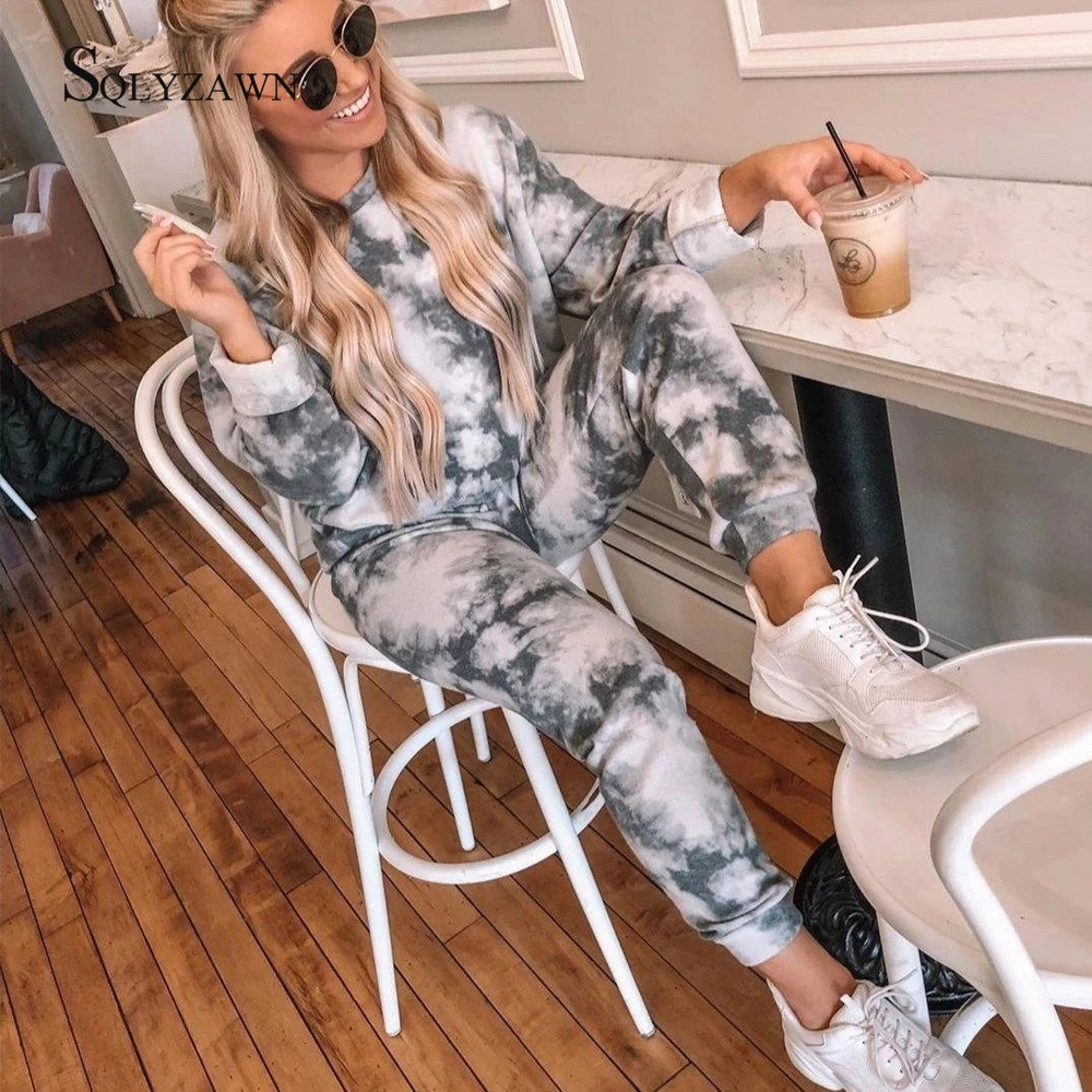 Cool Women High Waist Pant Set Gray Tie Dye Tracksuit Set Female Outfits 2020 Autumn Chic Track Pants Capris Sweatpants Set Suit
