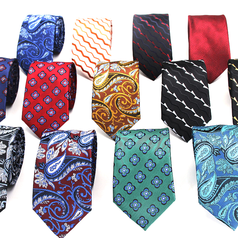 Men's Slim Tie 7cm Skinny Tie Blue Floral Tie Classic Red Paisley Tie Casual Necktie For Men Business Wedding Bowknot Ties
