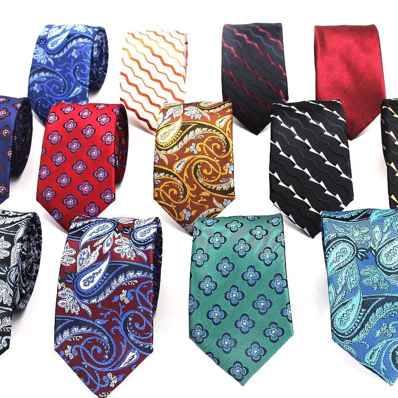 Men's Slim Tie 7cm Skinny Tie Blue Floral Tie Classic Red Paisley Tie Casual Necktie For Men Business Wedding Bowknot Ties