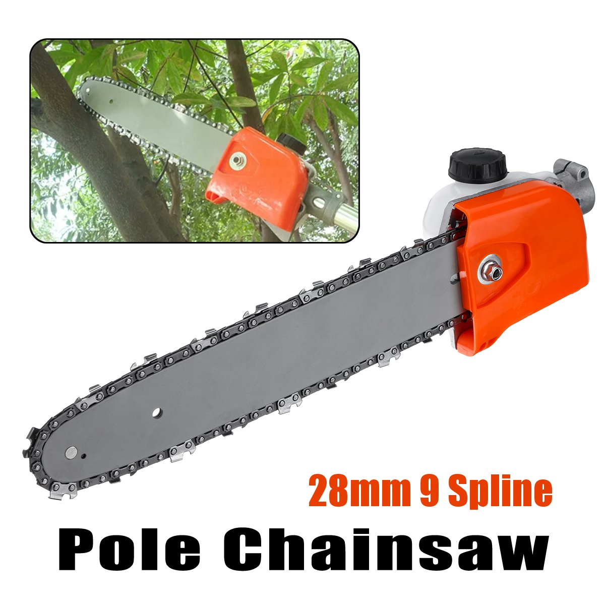 28mm 9 Spline Pole Chainsaw Saw Tree Cutter Tree Chainsaw Gearboxs Gear Head Tool +Chain+Guide Woodworking