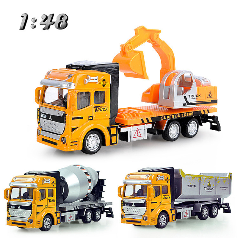 Back To The Future Engineering Excavator Dump Concrete Truck Car Miniature Toys For Boys Diecast Toy Vehicles