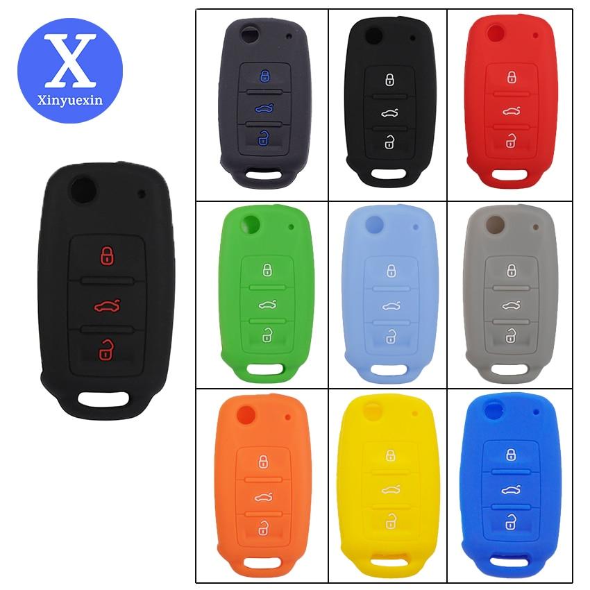 Xinyuexin Car Key Cover Silicone Case Key Fob Housing For VW Bora Passat Sagitar Golf Polo Lavida Tiguan Touareg Keychain