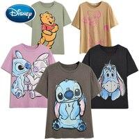 Disney Family T-Shirt Fashion Winnie the Pooh Mickey Mouse Stitch Fairy Dumbo SIMBA Cartoon Print Women T-Shirt Cotton Tee Tops 1