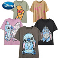 Disney Familie T-Shirt Mode Winnie the Pooh Mickey Maus Stich Fee Dumbo SIMBA Cartoon Druck Frauen T-Shirt Baumwolle T Tops