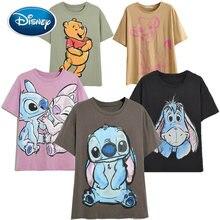 Camiseta de la familia de Disney para mujer, Camiseta de algodón con estampado de Winnie the Pooh, Mickey Mouse, Stitch, hada Dumbo, SIMBA