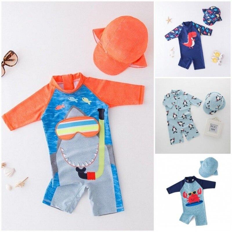 Купальник с шапочкой для маленьких мальчиков, одежда для серфинга, купальный костюм с акулой для младенцев, малышей, детей, детский солнцеза...