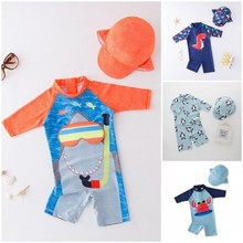 2021 baby boy swimwear with cap suit surfing Wear Shark swimming suit infant toddler kids children Sunscreen beach bathing Suit