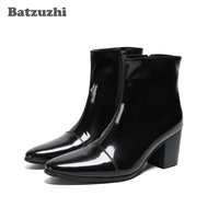 Batzuzhi 7CM High Heel Men Boots Pointed Toe Leather Dress Boots Men Zip Black Business Leather Ankle Boots Bota Masculina!