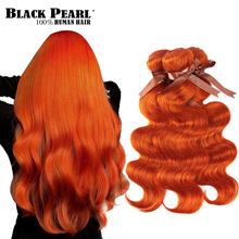 Tissage en lot Body Wave brésilien 100% naturel Remy Orange – Black Pearl, 8 à 28 pouces, Extension capillaire