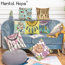 Feather Printed Home Decor Cushion Cover Dreamcatcher Pattern Throw Pillow Cover Linen Cotton Square Decorative Pillowcase swans heart pattern decorative linen pillowcase