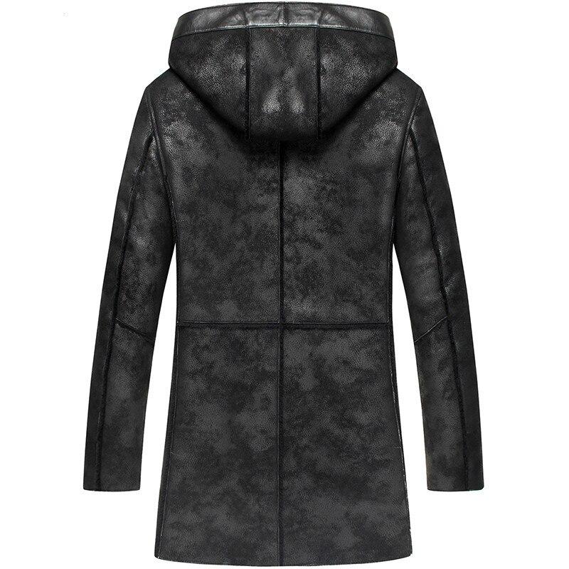 Sheepskin Genuine Leather Jacket Men Autumn Winter Mens Shearling Jacket Real Fur Coat Hooded Outwear LSY070278 KJ1281