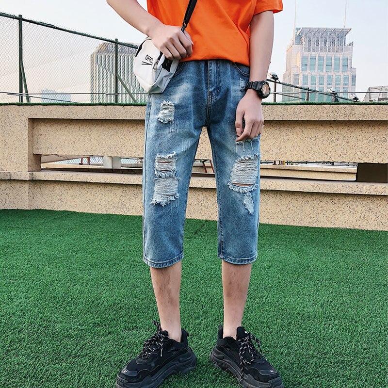 Summer Jeans Men's Slim Fashion Washed Solid Color Casual Hole Jean Pants Men Streetwear Wild Hip Hop Straight Denim Pants Mens