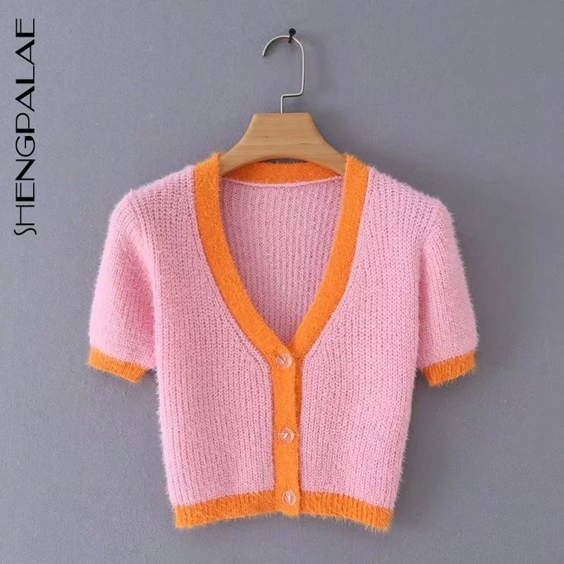 SHENGPALAE 2020 New Fashion Spring V Neck Button Casual Loose Breasted Hit Color Knit Cardigan Women Long Sleeve ZA3073