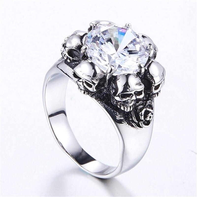 Модное кольцо в стиле панк из нержавеющей стали с черепом, классическое мужское кольцо, аксессуары, ювелирные изделия для вечерние подарок ...